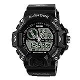 Goenn S-SHOCK 腕時計 多機能 スタンダード クォーツ アナデジ表示 シリコンバンド LED クロノグラフ ストップ ウォッチ 高品質 おしゃれ 50M防水 アウトドア スポーツ ミリタリー メンズ【全4色】 (ブラック)