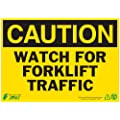 "Zing Eco Safety Sign, Header ""CAUTION"", ""WATCH FOR FORKLIFT TRAFFIC"", 14"" Width x 10"" Length, Recycled Aluminum, Black on Yellow (Pack of 1)"