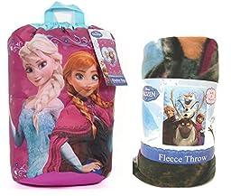 Disney Frozen Anna and Elsa Slumber-bag + Disney Movie Frozen Fleece Throw Blanket - Anna, Olfa the Snowman and Kristoff Fleece Throw Blanket 46\
