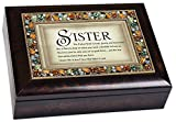 The Perfect Sister Italian Style Burlwood Decorative Jeweled Lid Musical Music Jewelry Box - Plays Edelweiss