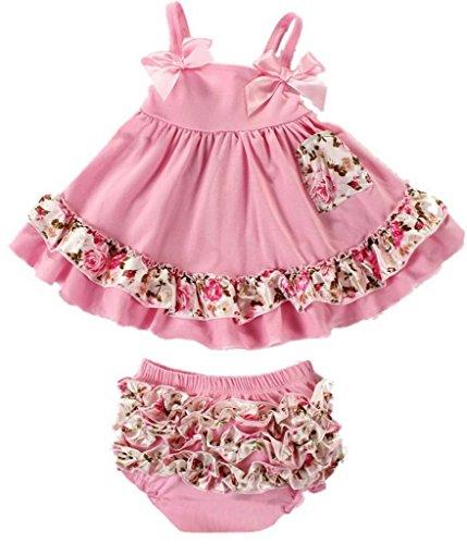 EOZY 可愛い ワンピース ベビー服 赤ちゃんドレス 2点セット ベビーショートパンツ スイムウェア 袖なしワンピ 夏着 蝶結び フリル 子供用 ピンク花柄 80