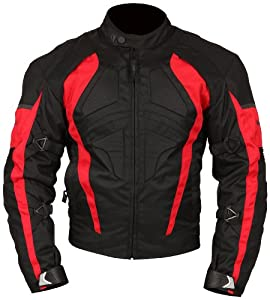 Milano Sport Gamma Motorcycle Jacket with Red Accent (Black, Medium)