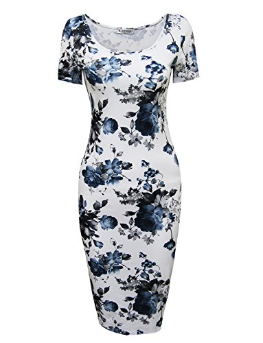 Tom's Ware Women's Floral Short Sleeve Midi Dress TWCWD053-WHITEBLUE-US M