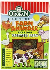 OrgraN Rice & Corn Vegetable Pasta, Multi-Color Animal Shapes, 7-Ounce Boxes (Pack of 8)