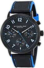 Stuhrling Original Men's 668.02 Monaco Analog Display Quartz Black Watch