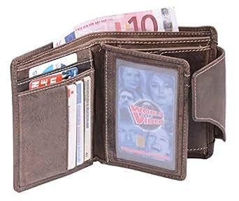 Portefeuille pour homme et femme format portrait (compris la boîte-cadeau) LEAS, cuir véritable, marron - ''LEAS Vintage-Collection''