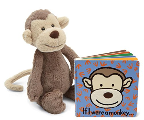 Jellycat® Bundle, If I Were A Monkey Baby Touch And Feel Book And Bashful Monkey Stuffed Animal front-828368