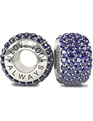 The Royal Collection - I Love You Always Sterling Silver 925 Plated Austrian Sapphire Crystals Pave Bead Charm... - B01CYB280C