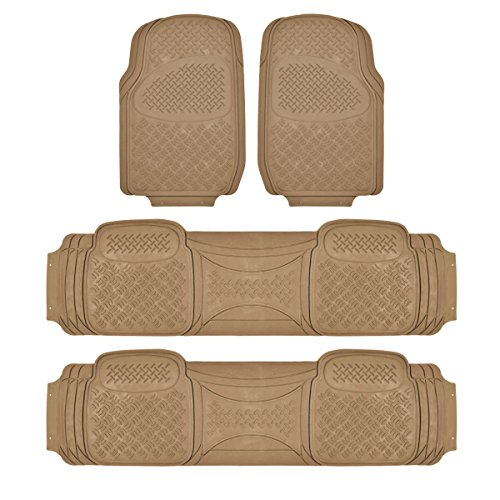 HEAVY DUTY RUBBER VAN SUV FLOOR MATS 4-PCS IN 3-ROWS BEIGE (4 Pc Car Mats compare prices)