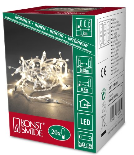 Konstsmide 3180-103 - Guirnalda LED para el �rbol de navidad (perlas de cristal, 20 diodos de blanco c�lido, pilas 3 x AA de 1,5 V)
