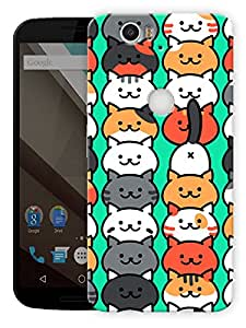 """Cute Cats Pattern Printed Designer Mobile Back Cover For """"Google Nexus 6 Plus"""" By Humor Gang (3D, Matte Finish, Premium Quality, Protective Snap On Slim Hard Phone Case, Multi Color)"""