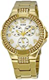 Guess Unisex Watch I16540L1 with Crystals, Sunray White Dial, Gold Plated Steel Bracelet and Gold Plated Steel Case