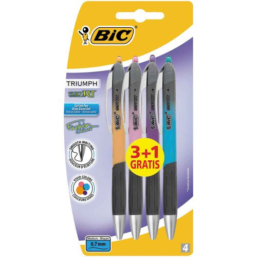 BiC 537RT - Bolígrafo de tinta gel (punta M, 0,7mm, 4 unidades)