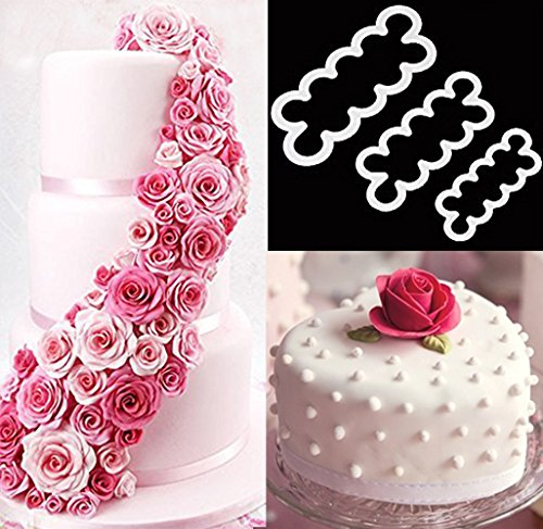 3pcs Cake Decoration Mold, DIY One-Piece Molded Fondant Roses Printing Mould Tool Set , Food Grade Cutter Modeling Tools for Christmas Party Wedding Cake in Mould Dessert Decorators Sugarcraft Sugar (Sneaker Cake Pan compare prices)