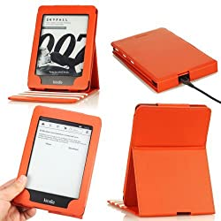 MoKo Vertical Flip Cover Case for Amazon New Kindle Paperwhite with Backlight, Orange (with Auto Sleep/Wake Function)