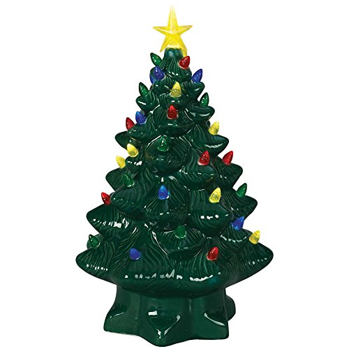 Nostalgic Lighted Ceramic Christmas Tree - Multi Color LEDs & 6 Hour Timer