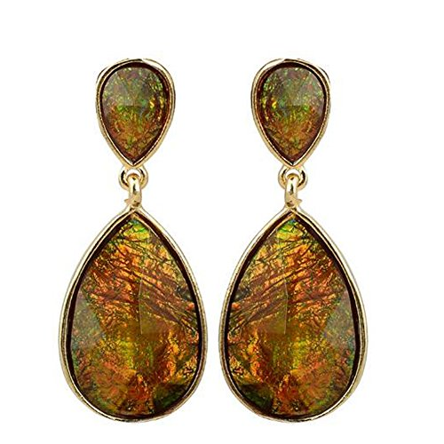 GERGER BO Women's Alloy Resin Teardrop-Shaped Earrings(Green) (Hollywood Costumes For Sale Australia)