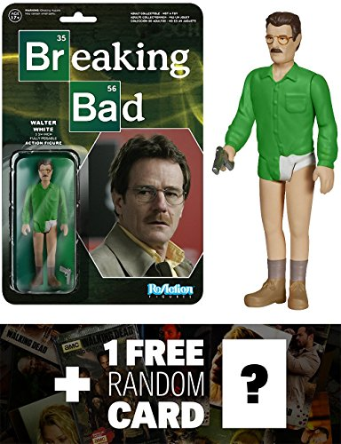 Walter White: Funko ReAction x Breaking Bad Action Figure + 1 FREE Official Breaking Bad Trading Card Bundle (54069)