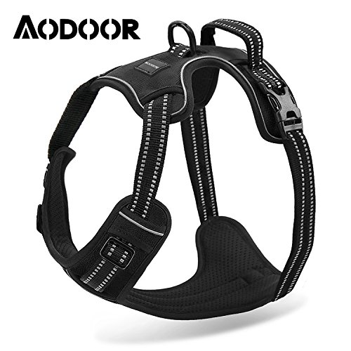 Aodoor-Ultra-Soft-Hundegeschirr-Softgeschirr-Brustgeschirr-Hunde-Geschirr-Sicherheitsgeschirr-M-Schwarz