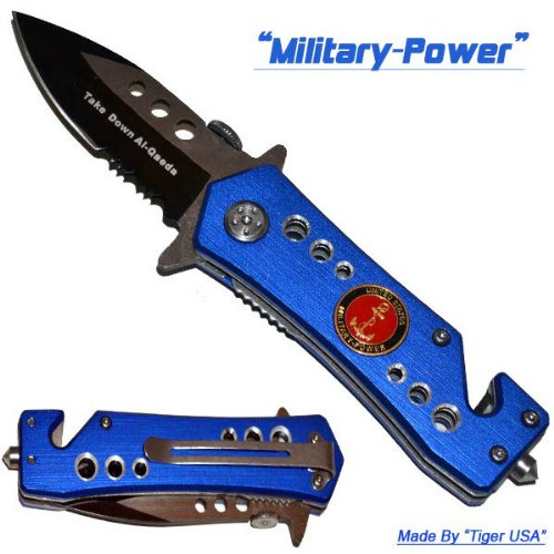 """2.5"""" """"U.S. Military Power"""" Spring Assisted Mini Tactical Rescue Knife"""