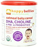 Happy Bellies Organic Baby Cereals with DHA Plus Pre and Probiotics, Oatmeal, 7-Ounce Canisters (Pack of 6)