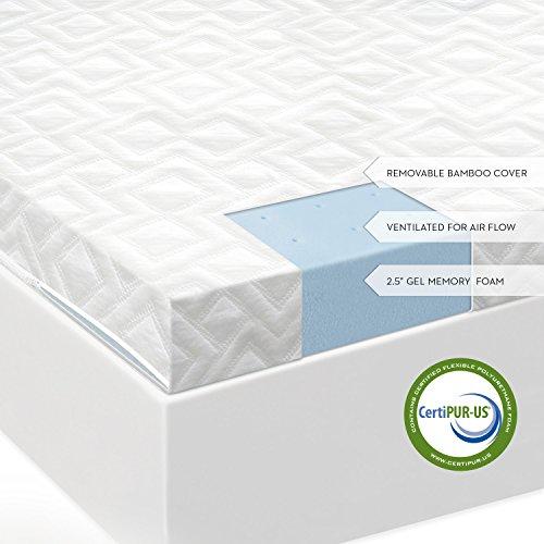 "2.5"" Ventilated Gel Memory Foam Mattress Topper By Isolus Full Xl front-810158"