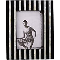 Plush Plaza Black And White Resin Mother Of Pearl Photo Frame - Large