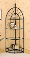 Sunburst Design Wrought Iron Style 4 Tier Corner Stand  Shelf