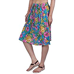 Fashiana Women Colorful Floral Printed Cotton Mini Beach Skirt Dress