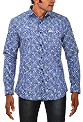Indipulse Men's Casual Shirt (IF11600614A, Blue, XL)