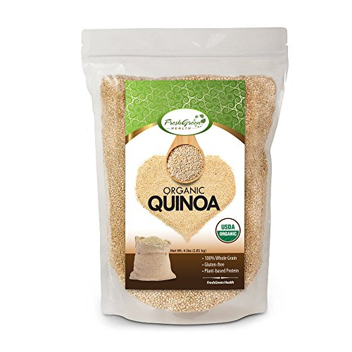 FreshGreen Health Organic White Quinoa 4 LB Bag | Whole Grain | Re-Sealable Bag | Pre-Washed