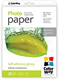 ColorWay Glossy Self-Adhesive Photo Paper 8.5x11-inches, 20 sheets, 36lb, 135gsm