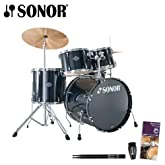 Sonor Smart Force Stage 1 Black 5-Piece Drum Set with Hardware, Foot Pedal, Shaker, Drumset Survival Guide & Drumsticks