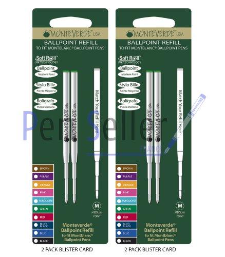 Monteverde: 4 Recharges Bille Soft Roll Vert Compatible Montblanc, Pointe: M, Livrées en Blister (2 Blisters de 2 Recharges Chacun).