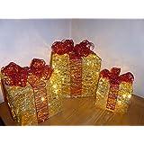 """Beleuchtete Weihnachtsdekoration """"Geschenkboxen"""", Glitter, Gold und Rot, in Innenräumen und im Freien zu verwenden"""