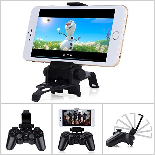Megadream® 180 Degree Adjustable Bluetooth Android Phone Clamp Game Clip Mount Stand Holder for Playstation PS3 Controller Samsung Galaxy S6 S5 Note 4 Sony Xperia Z4 Z3 HTC Maximum Clamp 6 inch Phones