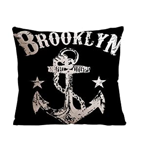 ilkin Decorative custom personalized pillow cases 18 x 18 Inch Linen Cloth Pillow Cover Cushion Case - Anchor design