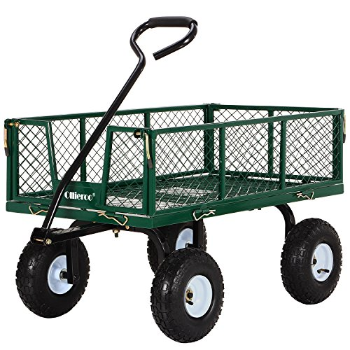 Ollieroo Utility Wagon Farm And Ranch Heavy-Duty Steel Garden Cart with Removable Folding Sides and 10
