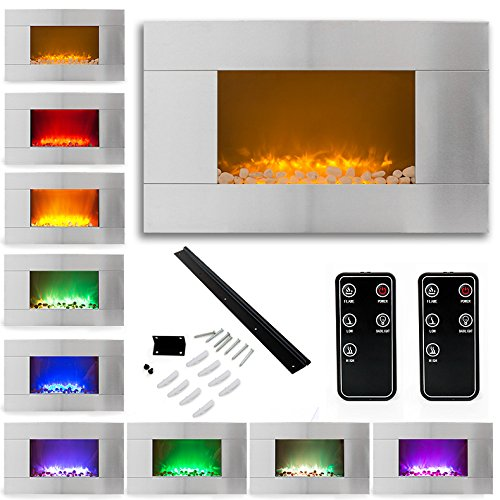 "36"" 1500W Stainless Steel Electric Fireplace Heater Natural Stone Color Changing Led Back Light"