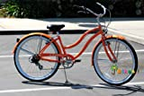 "Micargi Pantera Shimano 7-Speed 26"" Women's Beach Cruiser Bicycle Bike, Steel Frame (Orange)"