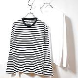 フルーツオブザルーム (FRUIT OF THE LOOM) Tシャツ ボーダー 無地 2枚セット メンズ 長袖 (M, ホワイト&ブラックボーダー)