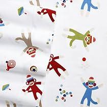 Home Classics Full Size Heavyweight 5 oz (170-gram) 4 Piece Flannel Sheet Set with Deep Pockets Sock Monkey