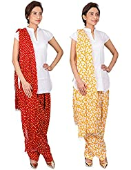 Womens Cottage Combo Pack Of 2 Printed Cotton Semi Patiala & Cotton Dupatta With Lace Set - B01G1GJWMS