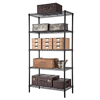 SINGAYE Storage rack, Heavy Duty 5 Tier Wire Shelving units with Adjustable Leveling Feet, Black