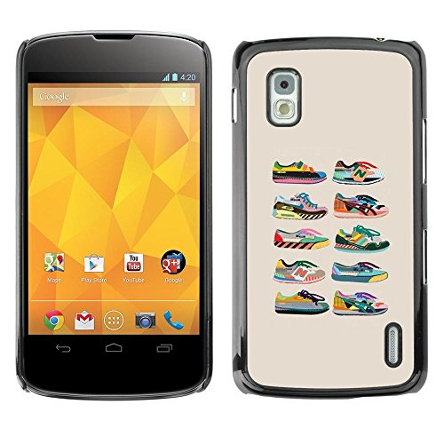 Smartphone Protective Case Hard Shell Cover for Cellphone LG Google Nexus 4 E960 / CECELL Phone case / / Sneakers Shoes Trainers Collection Beige /