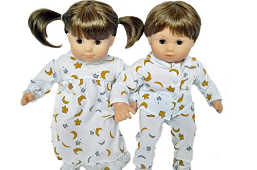 MOON AND STAR PAJAMAS AND NIGHTGOWN FOR AMERICAN GIRL DOLLS BITTY TWINS AND BITTY BABY