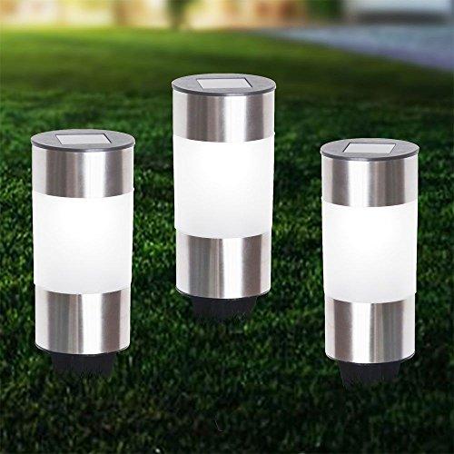 set di 3 LED lampada solare in acciaio inox Auo?en senso del giardino plug-in lampada Globo 33254-3