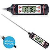 Best Outdoor and Barbeque Meat Thermometer Instant -Meat Thermometer with Hanging Strap ~ Clip & Long Probe - Easy LCD Screen - Grill Meat - All Foods - Candies - Baking - Extra Long Steel Probe.