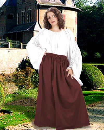 Medieval Renaissance Pirate Eleanor Cotton Skirt Costume [Chocolate]