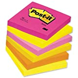 Post-it Warm Neon Notes Pad of 100 Sheets 76x76mm Rainbow Ref 654TF [Pack 6]